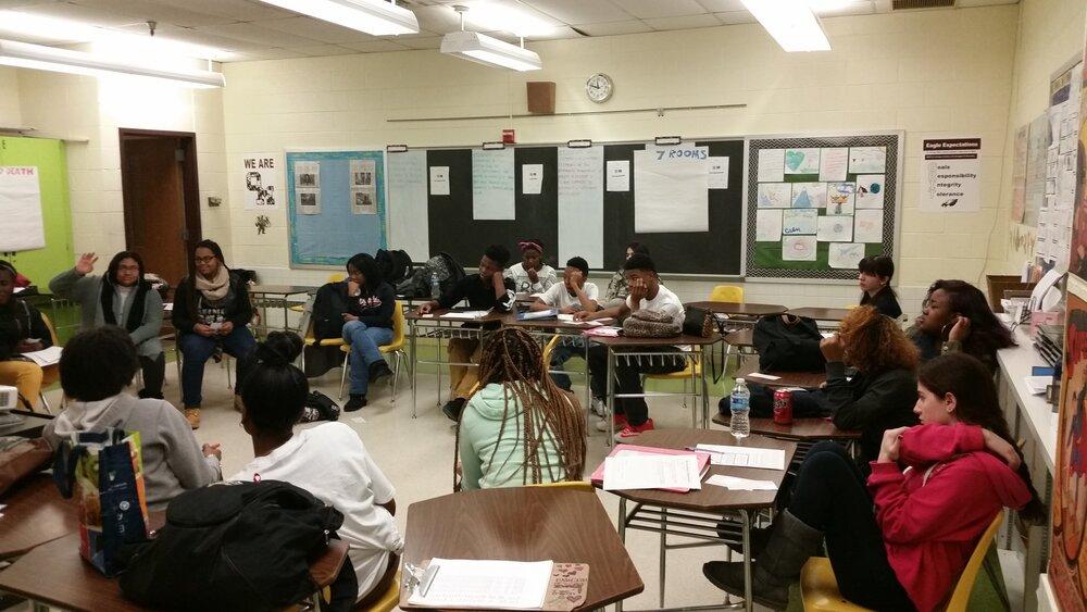 My Owings Mills kids as sophomores in one our Socratic Seminars.