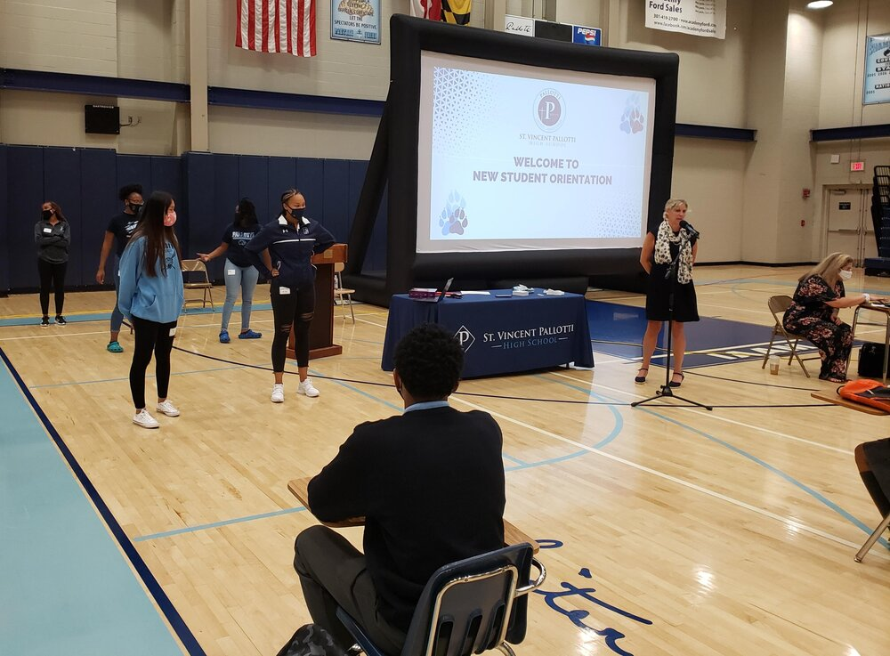 On Monday and Tuesday, the SGA leaders arrived to help welcome the freshmen. Here, during orientation, they were extolling the virtues of participating in school life beyond academics.