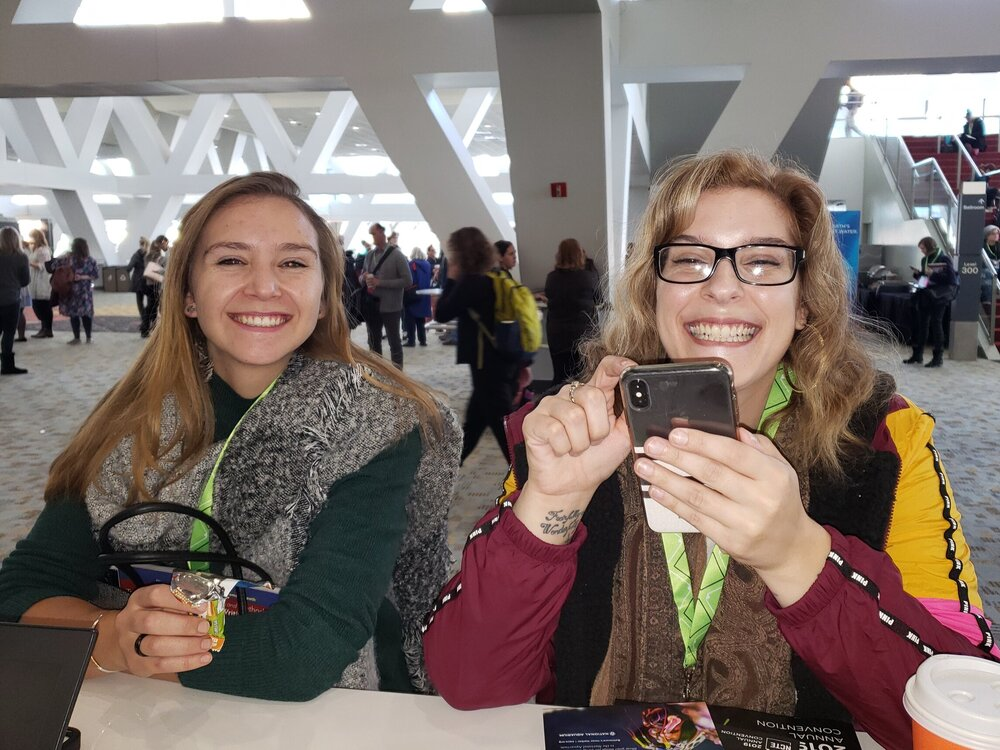 Surprisingly, I don';t have a foursome shot of the department but here are Isabelle and Amy, taken in November at the NCTE convention.